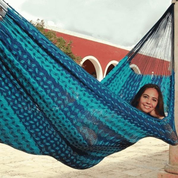 Hamacas Mayas algodon grueso azulesd